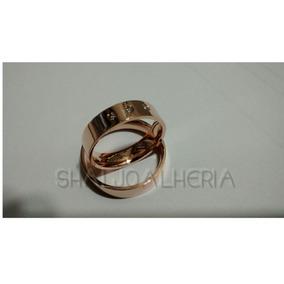 Par De Alianças Em Ouro Rosê 18k 4mm Com Diamantes