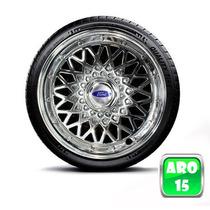 Calota Jogo Aro15 Réplica Bbs Cromada Ford New Fiesta Focus