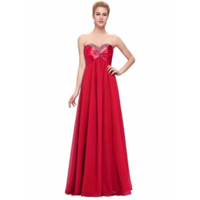 Sexy Vestido De Fiesta Rojo Strapple Corset Satin Chiffon
