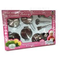 Jogo De Cozinha De Brinquedo Em Inox Lucy - Braskit Infantil