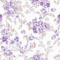 Papel De Parede Adesivo Floral Textura Com Flores Roxas