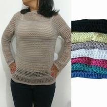 Blusa Tricot/tricô Feminina Furadinha Veste Leg