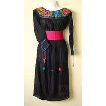 Vestido Artesanal Mexicano Bordado De Manta Unitalla
