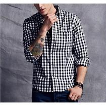 Camisa Xadrez Slim Fit Masculina Algodão A Pronta Entrega
