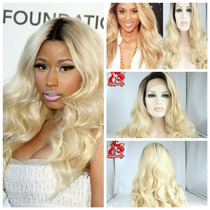Peruca Front Lace Wig Loira Ombre Igual Cabelo Humano 80cm