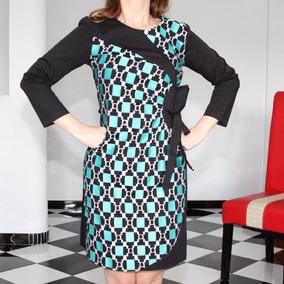 Vestido Negro Blanco Y Azul Turquesa De La Marca Almatrichi