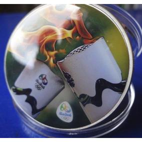 Tocha Olímpica Colorida Olimpiadas Rio 2016 - Medalha Moeda