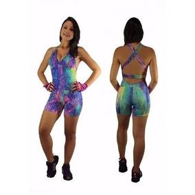 Kit 4 Macaquinho Short Bojo Feminino Academia Fitness Roupa