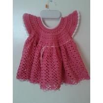 Vestido Tejido A Crochet Color Rosa Para Niña