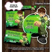 Kit Imprimible Etiquetas Escolares Ben 10 Promo 2x1