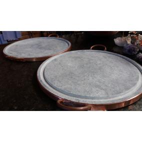Carne Em Pedra Sabão Chapa Com 37 Cm Alça Em Cobre