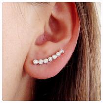 Brinco Em Prata Ear Cuff Com Zircônias Prata 950