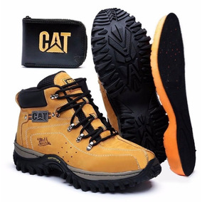 Kit Bota Adventure Caterpillar + Palmilha Gel E Carteira Cat