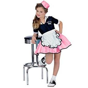 Disfraz Para Niña 50s Child Pink Car Hop Traje De La Muchac