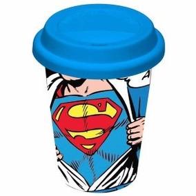 Copo Com Tampa De Silicone Superman