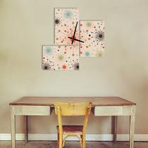 Reloj De Pared Tríptico Cuadro Retro Vintage + Diseños Nuevo