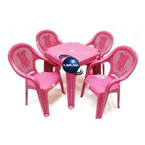 Conjunto Mesinha +4 Cadeiras Poltrona Plastico Infantil Rosa