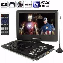 Dvd Portatil 9 Pol Tela Lcd Multimedia Tv Cd Sd Usb Fm Jogos