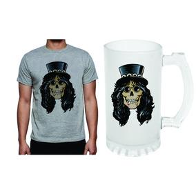 Kit Camiseta E Caneca Caveira Slash Guns Rock N Roll 385