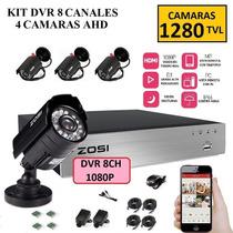 Kit Dvr 8 Canales Hd 4 Camaras 1280 Tvl Sistema De Seguridad