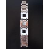 Hermoso Reloj Stanless Stell Back,malla Combinada Acero/bco!