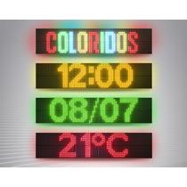 Painel Letreiro Digital De Led Mensagem Colorido / 288x64 Cm