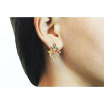 Arete Moda Dorado 4 Cruces Cristales Multicolor Ar315