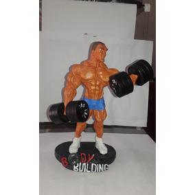 Boneco Musculoso Halteres Musculação Rosca Alternada Body