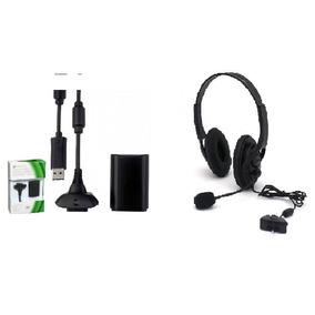 Fone De Ouvido Xbox 360 E Cabo Carregador Bateria Xbox 360