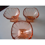 3 Taças Antigas Vidro Salmão