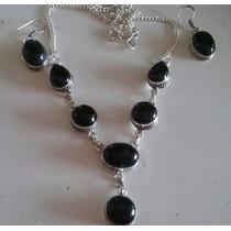 Conjunto Colar Feminino Brinco Prata 925 Pedra Natural Onix
