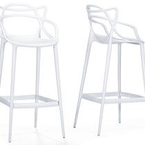 Banco Electron White Plastic Contemporary Bar , Set Of 2