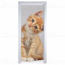Adesivo Decorativo De Porta Madeira Vidro Gato