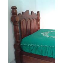Cama De Casal Rustica Maciça,madeira De Lei,mogno,peça Unica
