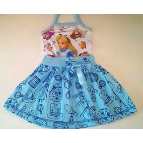 Vestido Infantil Alice País Das Maravilhas Temático Fantasia