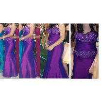 Vestido Noche Morado Tafeta Tornasol Sirena Piedras 9-11