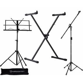 Pedestal P/ Microfone + Suporte Teclado + Estante Partitura