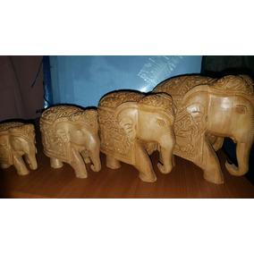 Elefante De Madera Tallado A Mano