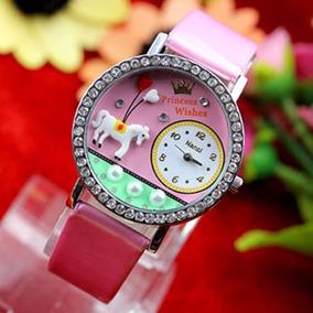 Reloj Princesa Con Caballo Blanco Y Cristales