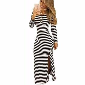 Vestido Longo Listrado Com Fenda Lateral Pronta Entrega