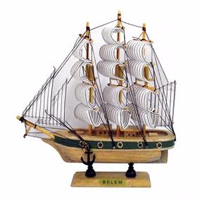 Navio Belem Barco Caravelas De Madeira Miniatura 23cm