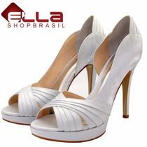 Peep Toe Sapato Para Noivas Cetim Prata Salto Alto Lindo