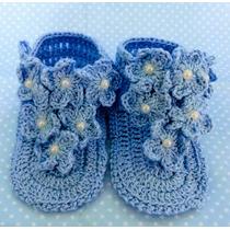 Sapatinho Sandália Azul De Crochê Com Flores Menina Bebe
