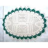 Tapete De Crochê De Barbante Branco Com Detalhes Em Verde