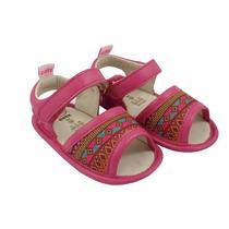Sandália Infantil Lolla Hippie Velcro Em Couro Pink - Catz