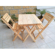 Mesa Plegable Madera Con 2 Sillas Restaurant, Cafe, Negocio