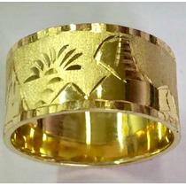 Aliança Anel Escrava Egípcio Amarela 10mm Ouro 18k 750