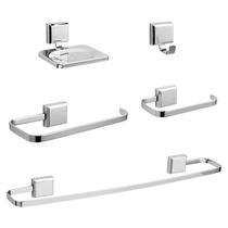 Kit De Acessório Para Banheiro 5 Aço Cromado Inox - 2 Kits