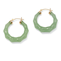 Aretes Estilo Bambú Jade Verde Legítimo Oro 14k