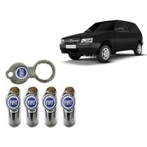 Bico De Pneu Cromado Logomarca Fiat Azul